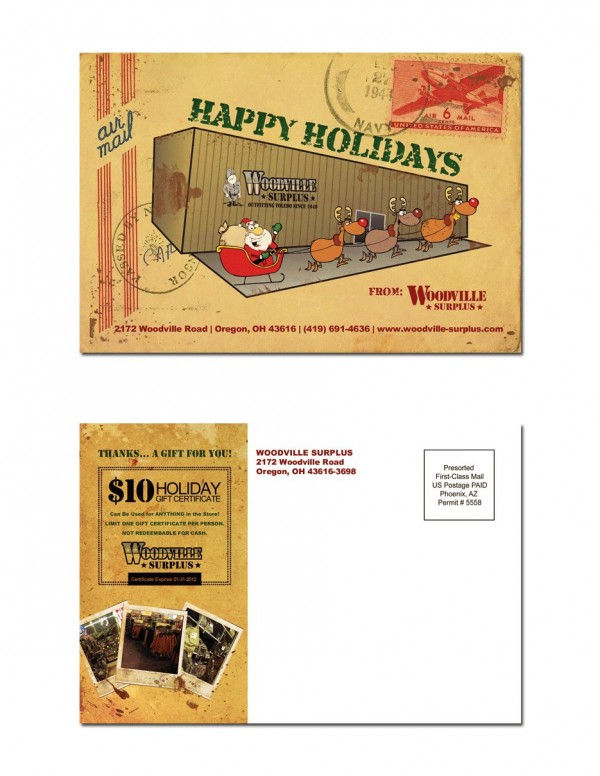 Woodville Surplus – Holiday Postcard