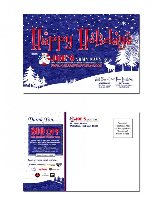 Joe's Army Navy – Holiday Postcard