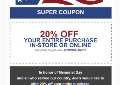 Joe's Army Navy Email Blast